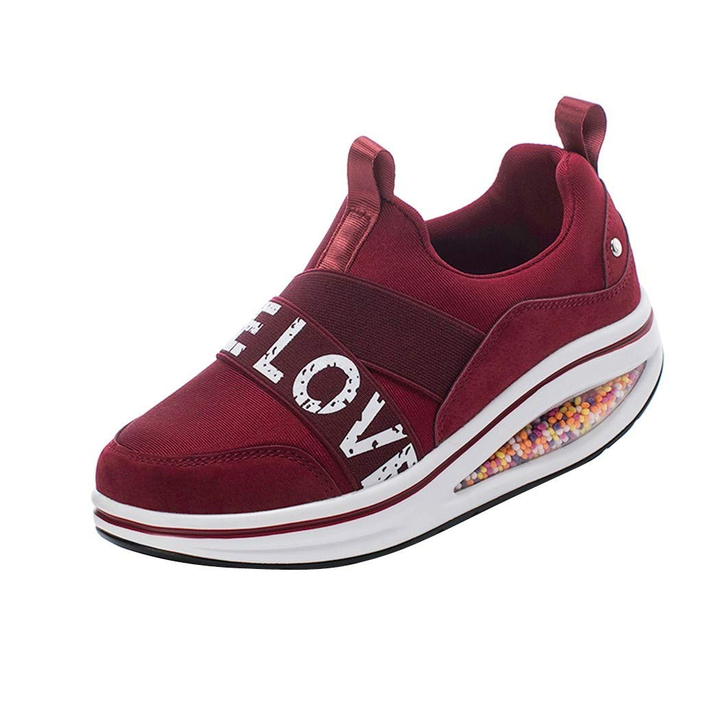 Rmeioel Fashion Women Thick Bottom Swaying Shoes Mesh Leisure Printe Letters Walking Running Shoes Damping Sneakers Red by Rmeioel