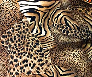 "Animal Print Charmeuse Satin Fabric 60"" By the Yard"