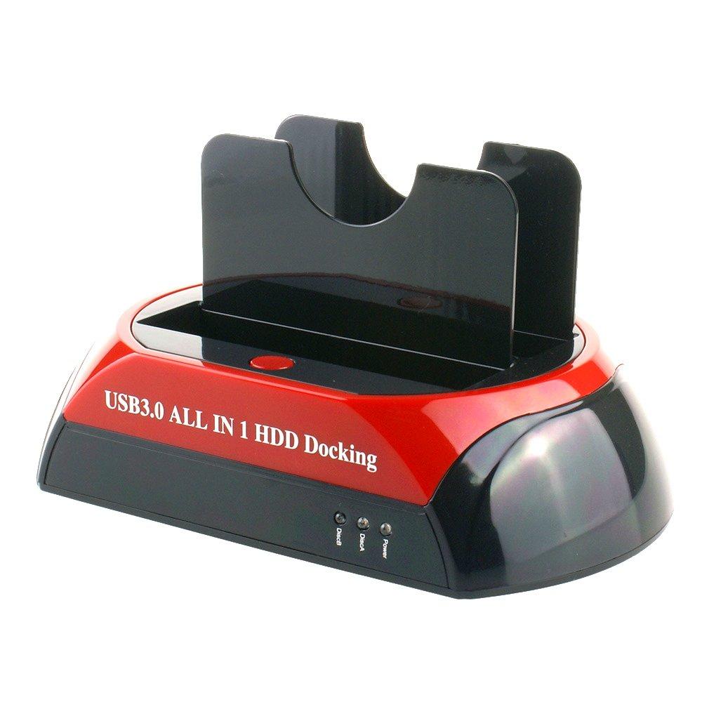 Tccmebius TCC-875U3-DE USB 2.0 a IDE SATA Bahí a Dual HDD Disco Duro Estació n de Acoplamiento para 2.5 3.5 Pulgadas IDE SATA I / II / III HDD SSD