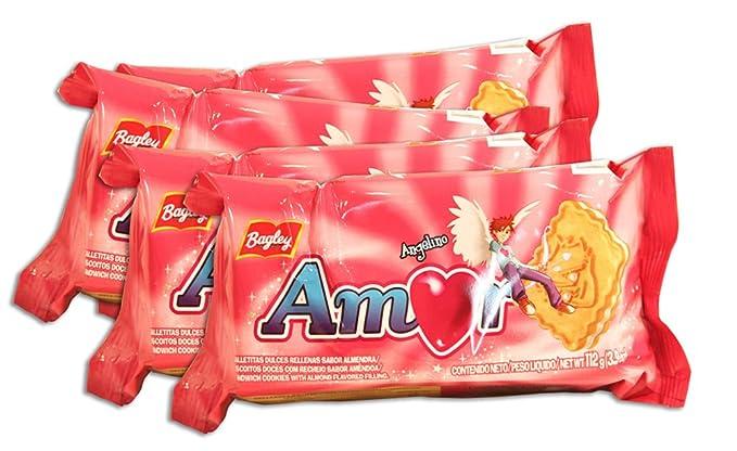 PACK de 4 paquetes de Galletitas AMOR de BAGLEY. Galletitas Dulces rellenas sabor a almendras