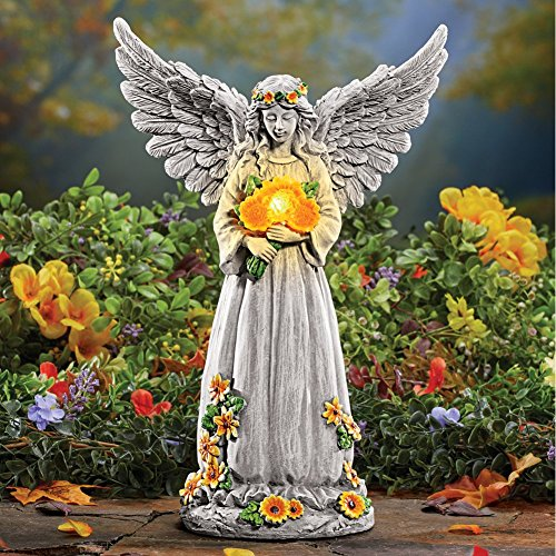 Angel Garden Statue Sunflowers Wings Outdoor Lighting Decor Solar Light Up Patio Ornament Yard Outside Decoration Figurine Figure Lawn Sculpture Porch Deck Home Art ()