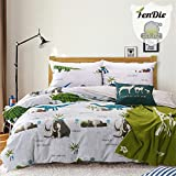 FenDie Home Textiles Gray Bedding Set, Queen Dinosaur Elephant Duvet Cover Set Cotton Reversible Plaid, 2 Fitted Pillow Covers