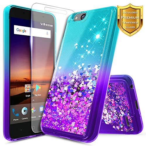 NageBee Glitter Liquid Quicksand Case Compatible ZTE Blade Vantage/Fanfare 3 /Avid 4 /Tempo X/AVID (557)/ZFive G/ZFive C LTE (Z557BL,Z558VL)/Tempo GO w/[Tempered Glass Screen Protector]-Aqua/Purple