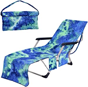 Beach Chair Cover, Microfiber Chaise Lounge Towel Cover with Storage Pockets for Pool Sunbathing Sun Lounger Vacation Hotel Garden Beach, Easy to Carry, No Sliding, Quick Drying