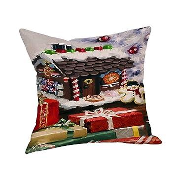 SDJBZ Feliz Navidad Funda de Almohada Impreso Funda de Almohada de Algodón de Lino Calcetines de