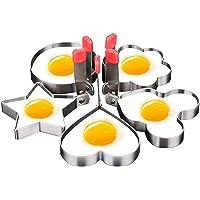 Moldes para Hacer Huevos Escalfados,CoWalkers Anillo de molde de huevo frito cocina de panqueque Conjunto de acero…