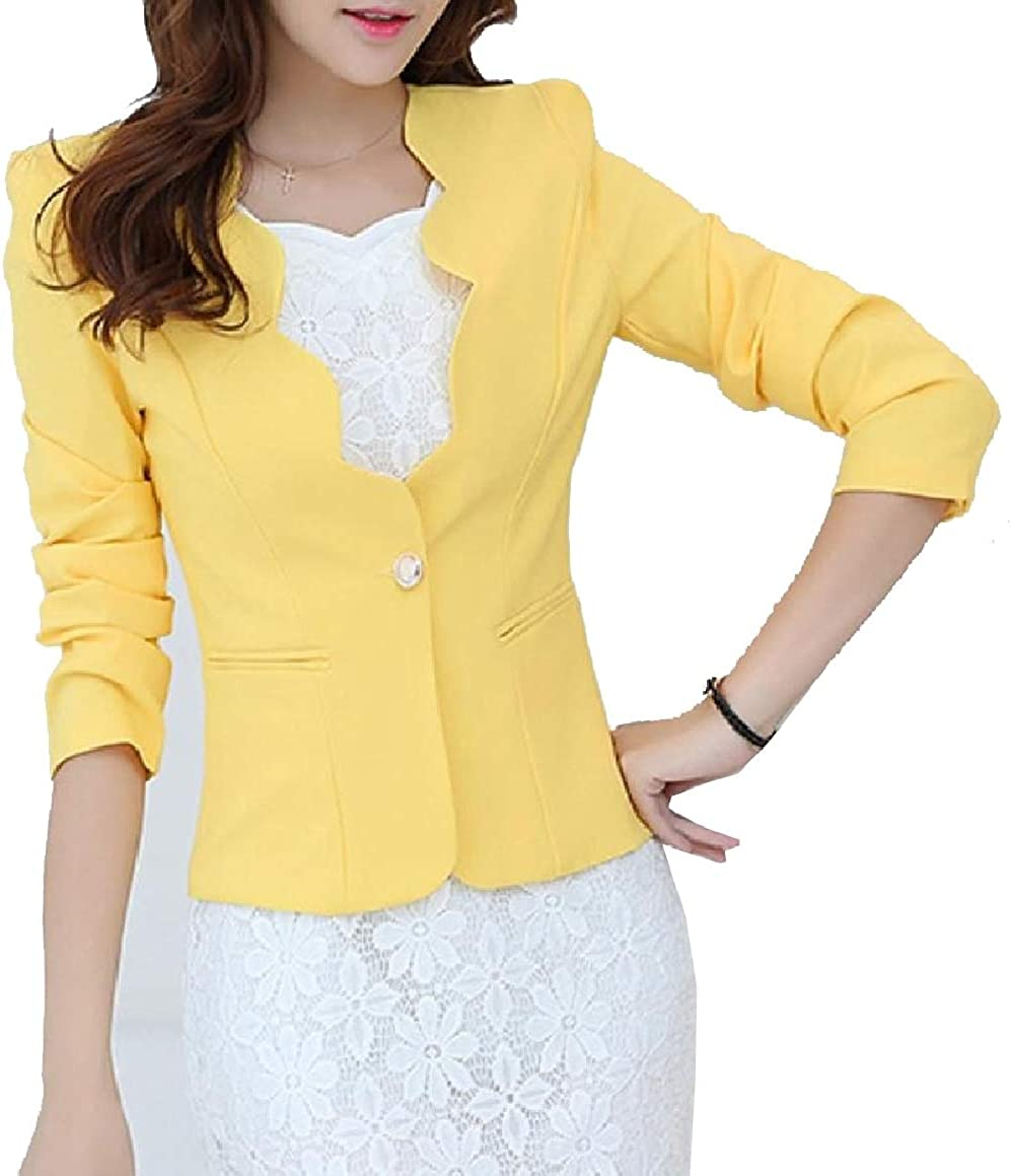QUHS Womens Long Sleeve Short Mini Solid Skinny Buttoned Fit Blazer Jackets