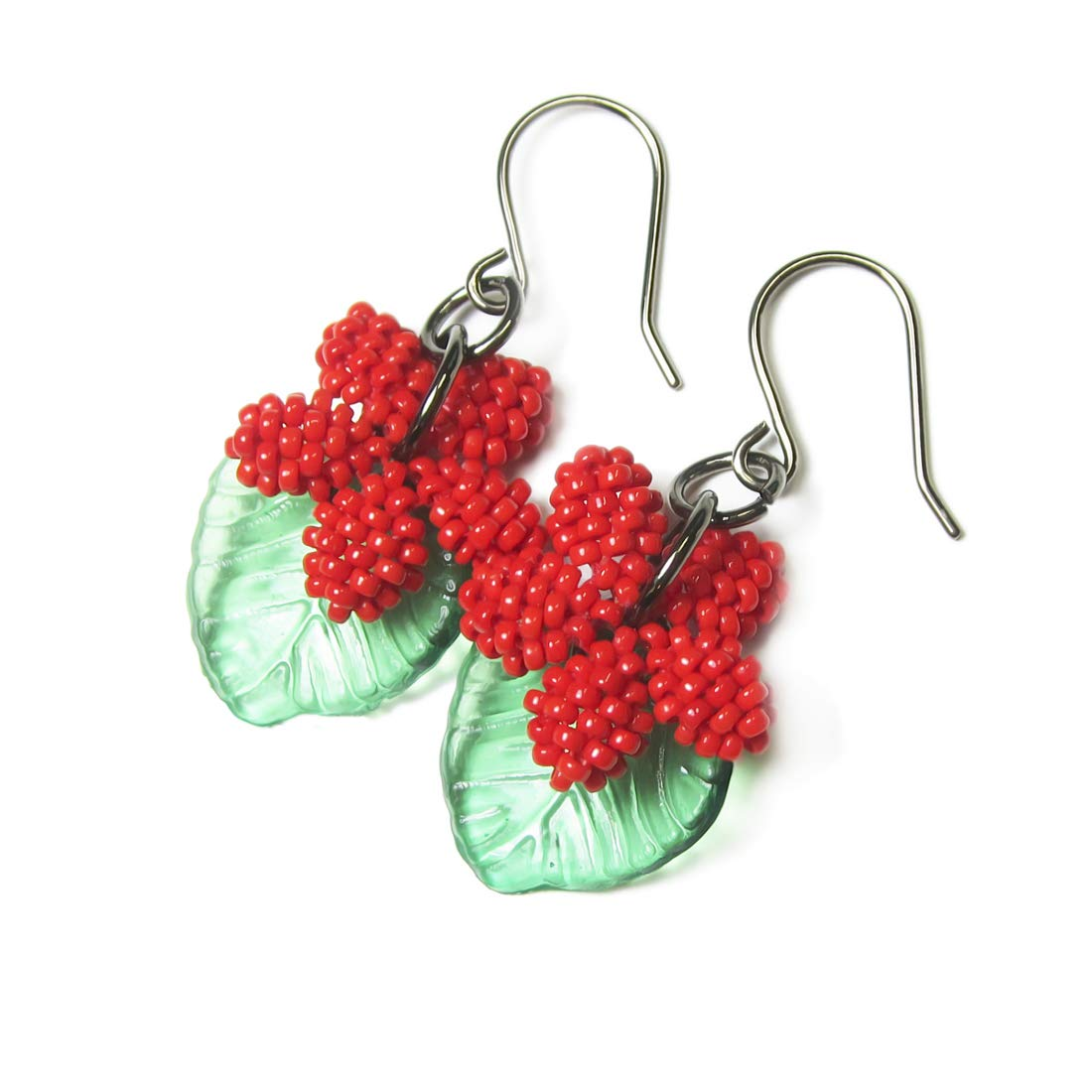 Heart in Hawaii Plumeria Flower Dangles with Leaves Opaque Red