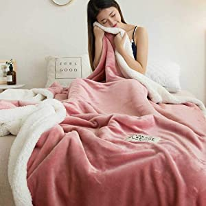 lishanshan Double Thicken Lamb Cashmere Blanket for Bed Sofa Winter Warm Cozy Throw Blankets for Office Bed Cover Coral Fleece Bedspread-Light Pink_100x120cm_China