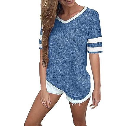 27c317f1f0aea YJYDADA Women Summer Casual V Neck Short Sleeve Pocket Blouse Tops T Shirt  (Blue