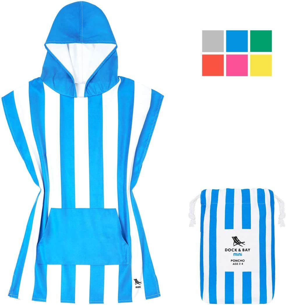 Suits ages 3-7 packs into its own drawstring beach bag Beach /& Pool Microfibre Kids Poncho with hood 28 long Quick Dry Hooded Towels for Swim Compact /& Lightweight - Mini collection