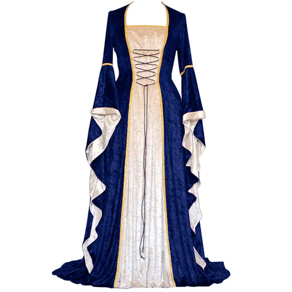 Women's Deluxe Medieval Renaissance Lady Costume Plus Size Vintage Lace Up Maxi Princess Dress Cosplay Fancy Gowns (L, Navy)