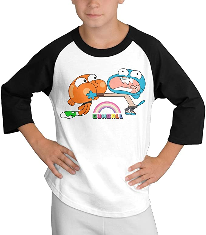 Black Raglan T-Shirts Short Sleeve JJongh yun White T-Shirt Tee for Kids Boys Girls