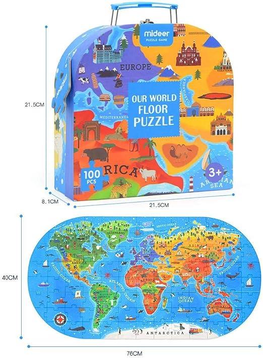 Currentiz Rompecabezas para Niños 100 Piezas Mapa del Mundo ...