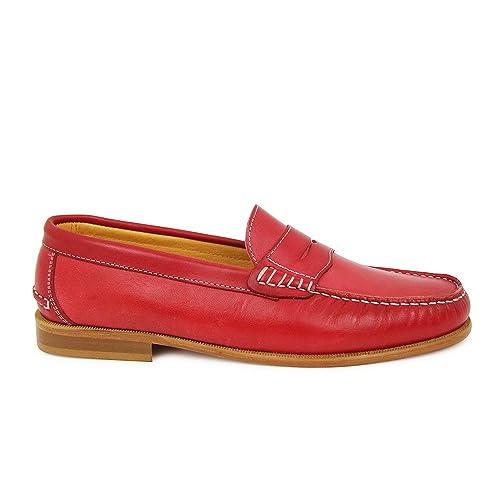 Tambuche Routiere Mocasin Premium Rojo Hombre: Amazon.es: Zapatos y complementos