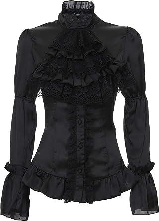 Darkinlove Camisa Blusa Negra satén Encaje buche romántico Victoriano Gótico Negro Small: Amazon.es: Ropa y accesorios