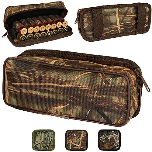 BronzeDog Waterproof Nylon Ammo Pouch Cartridge Belt Holder 12 16 Gauge Camo Shotshell Carrier Bag Hunting Wallet (Brown Cane Camo)