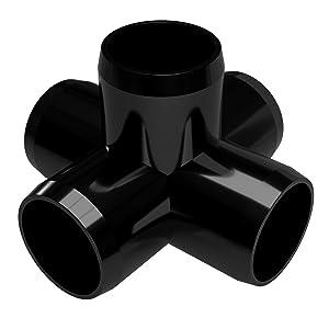 "FORMUFIT F1145WC-BK-4 5-Way Cross PVC Fitting, Furniture Grade, 1-1/4"" Size, Black (Pack of 4)"