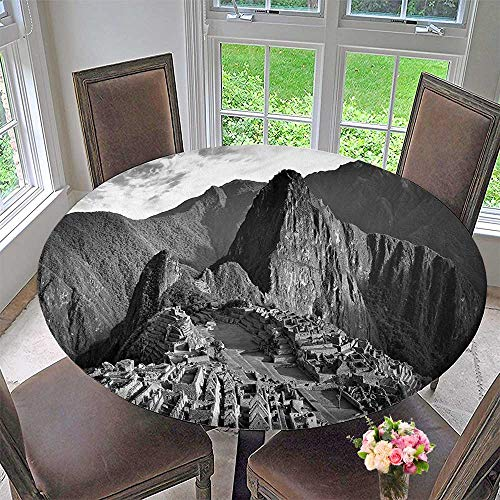 Round Polyester Tablecloth Table Cover Aerial View of A Peru Village Landmark Buildings Latin Day Time Charcoal and Grey for Most Home Decor 55