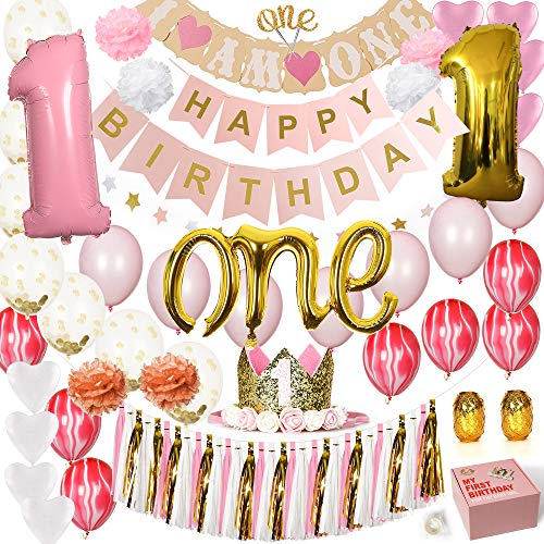Baby First Birthday Decorations (Baby Girl 1st Birthday Decorations White, Pink and Gold party supplies set. First Birthday Decorations for Baby Girls with balloons, Happy Birthday Banners, First Birthday Baby Crown, ONE Cake topper,)