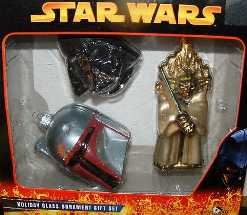 Star Wars Christmas Holiday Glass Ornament Gift Set Darth Vader Boba Fett Yoda