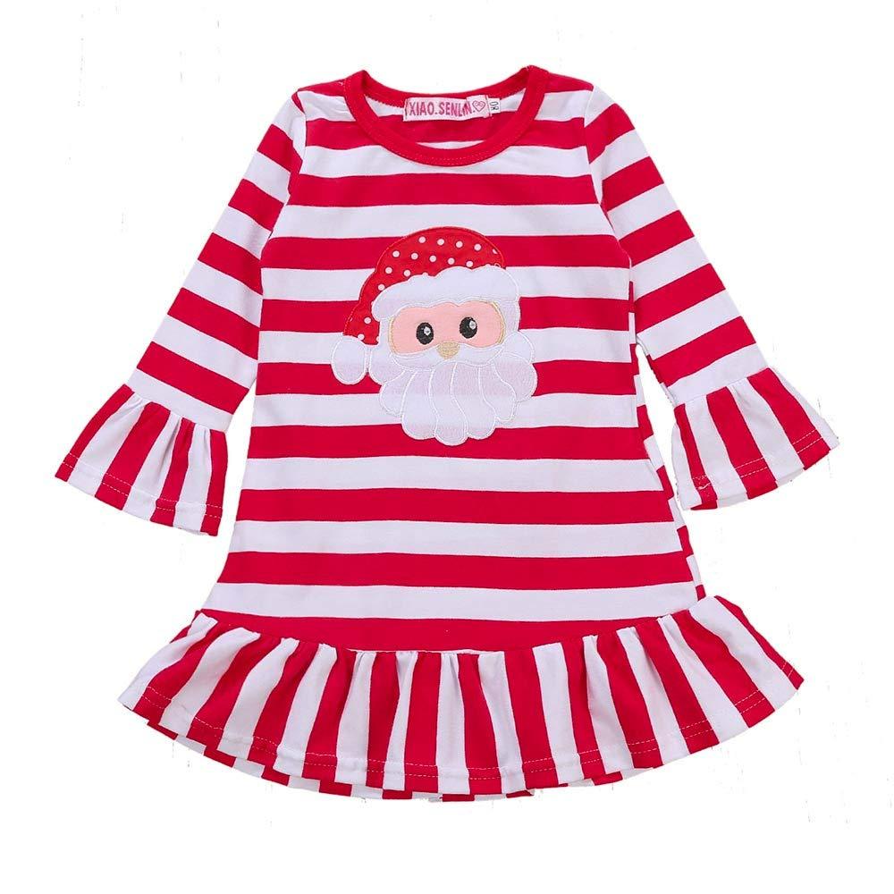GoodLock Clearance!! Baby Girls Christmas Dress Toddler Kids Striped Santa Claus Print Princess Dress Clothes (Red, 4T)