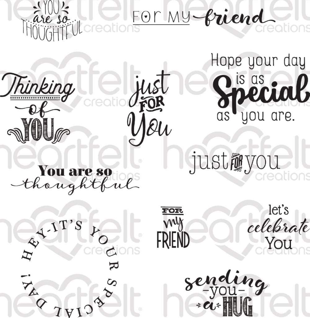 HCPC3845 Heartfelt Creations Cling Rubber Stamp Set Just for You Sentiments