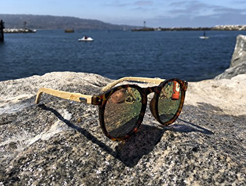 Polarized Round Bamboo Sunglasses: For Men and Women, UV Protection with Wooden Arms, Oversized by Reys (Image #5)