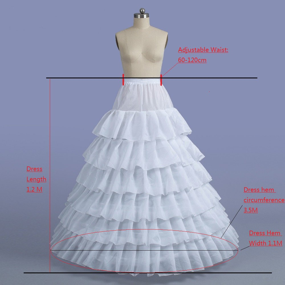 d17bec858b White 6 Layer Cascading Ruffles 6 Hoops Petticoat Puffy Ball Gown Wedding  Crinoline Underskirt for Womens Dress at Amazon Women s Clothing store
