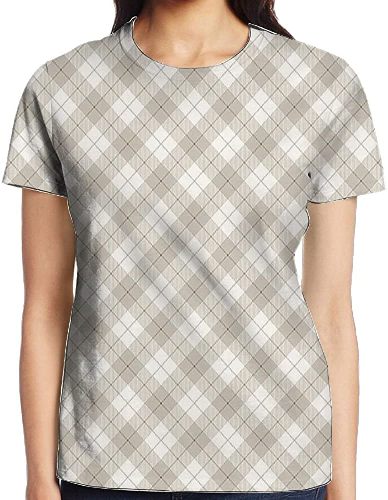 WuLion Diagonal Plaid Pattern Geometric Simplistic Checked and Striped Tile Women's 3D Print T Shirt White