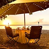 Luckkyme Patio Umbrella Lights, 8 Lighting Mode 104 LED String Lights Battery Operated Waterproof Outdoor Lighting with Remote Control Umbrella Lights (Warm White)