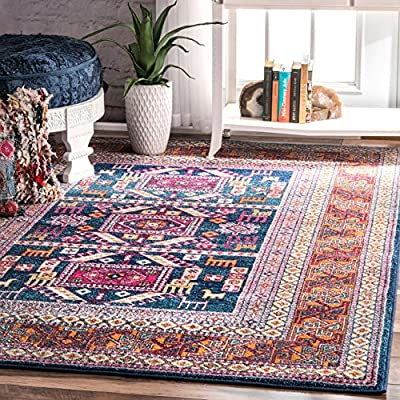 """nuLOOM Marisela Tribal Area Rug, 5' x 7' 5"""", Navy - Designed with resilience against everyday wear-and-tear, this rug is kid and pet friendly and perfect for high traffic areas of your home such as living room, dining room, kitchen, and hallways Sleek and functional 0.37"""" pile height allows for convenient placement in entryways, underneath furniture, and will not obstruct doorways Stylish and versatile this bohemian rug will make a statement in any room - living-room-soft-furnishings, living-room, area-rugs - 61GAY0t3EoL. SS400  -"""