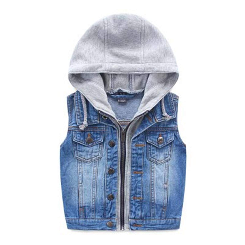 Gail Jonson Child Spring and Autumn All-Match Denim Vest Children's Clothing Casual Denim Vest Blue 8
