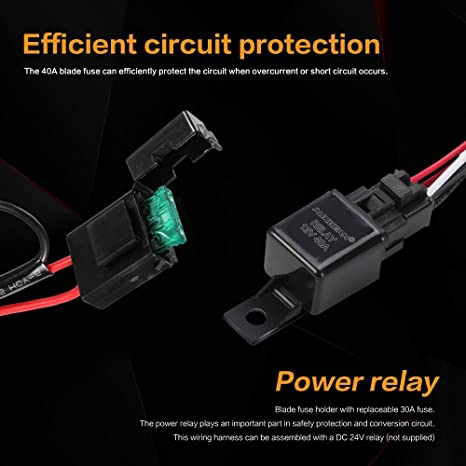 Amazon.com: Auxbeam LED Light Bar Wiring Harness Kit with Fuse Relay