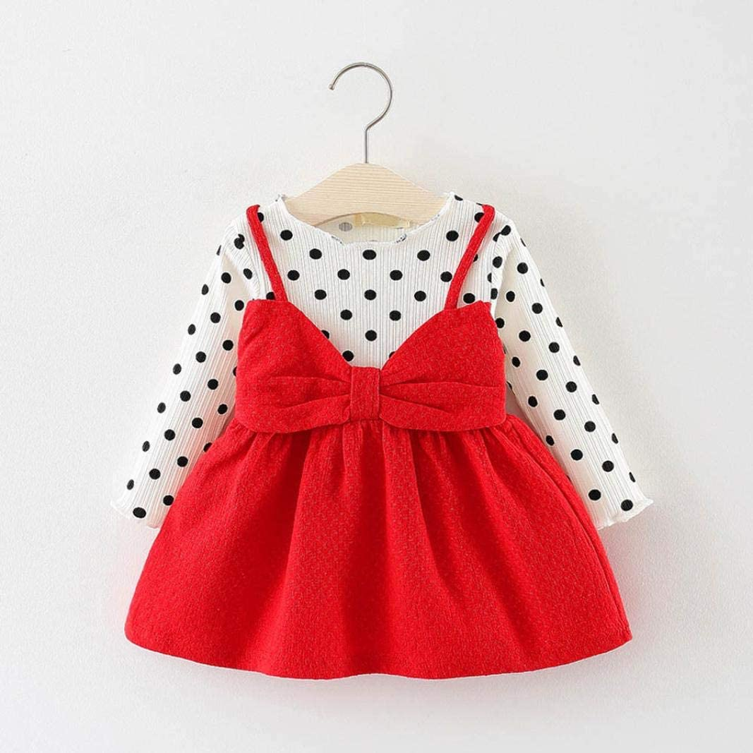 kaiCran Clothing Baby Girls Outfits Long Sleeve Ruffled Solid Top Floral Overalls Skirt Cute Clothes Sets