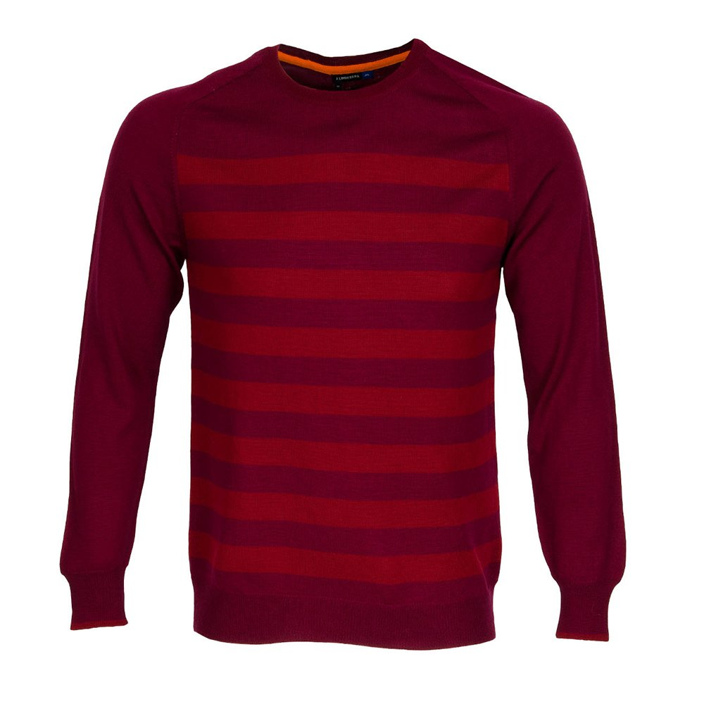 J.Lindeberg Stripe True Merino Golf Sweater 2017 Plum Large