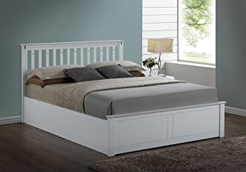 Lazybeds Kensington White Wooden Storageottoman Kingsize Bed Frame