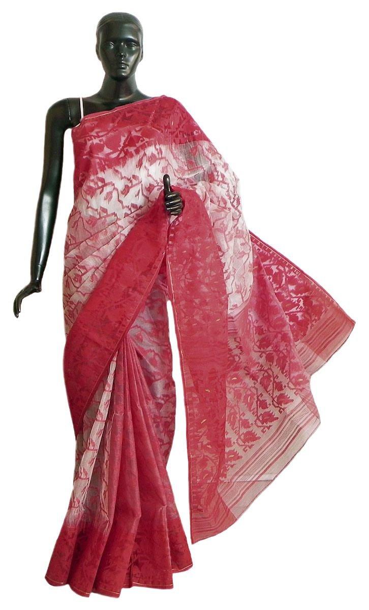 DollsofIndia Red Design on White Cotton Dhakai Saree with Red Border & Pallu (MP68) - White