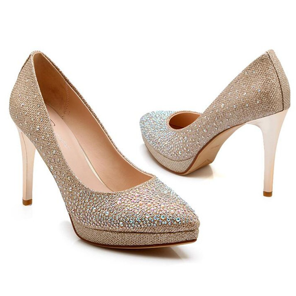 Heller Diamant Diamant Diamant Spitzkopf Abendkleid Schuhe High Heels Dünner Absatz Diskothek Damenschuhe 7de787