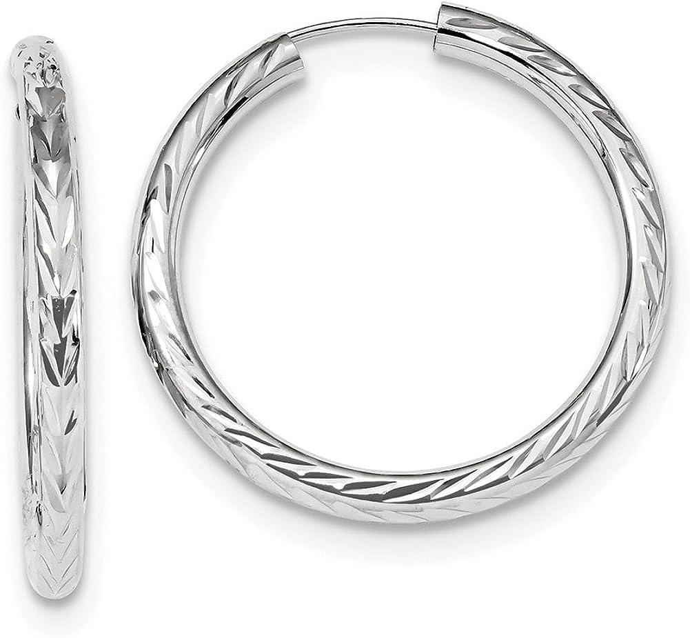 Lex /& Lu 14k White Gold Polished /& D//C Endless Hoop Earrings LAL118609