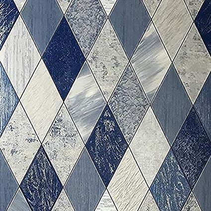 10m Slavyanski Vinyl Wallpaper Textured Faux Diamond Tiles Modern Strippable Wallcoverings Double Rolls Lines Pattern Coverings