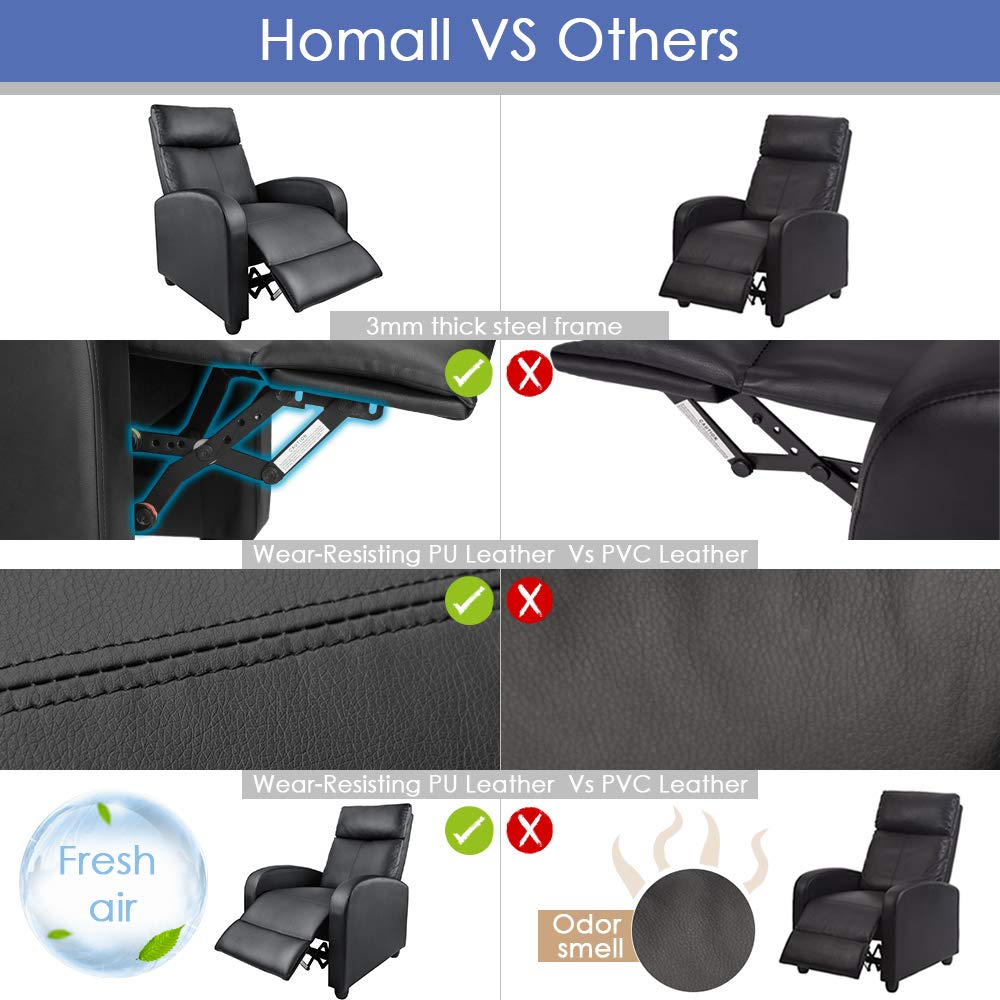 Amazon.com: Homall - Silla reclinable manual acolchada de ...