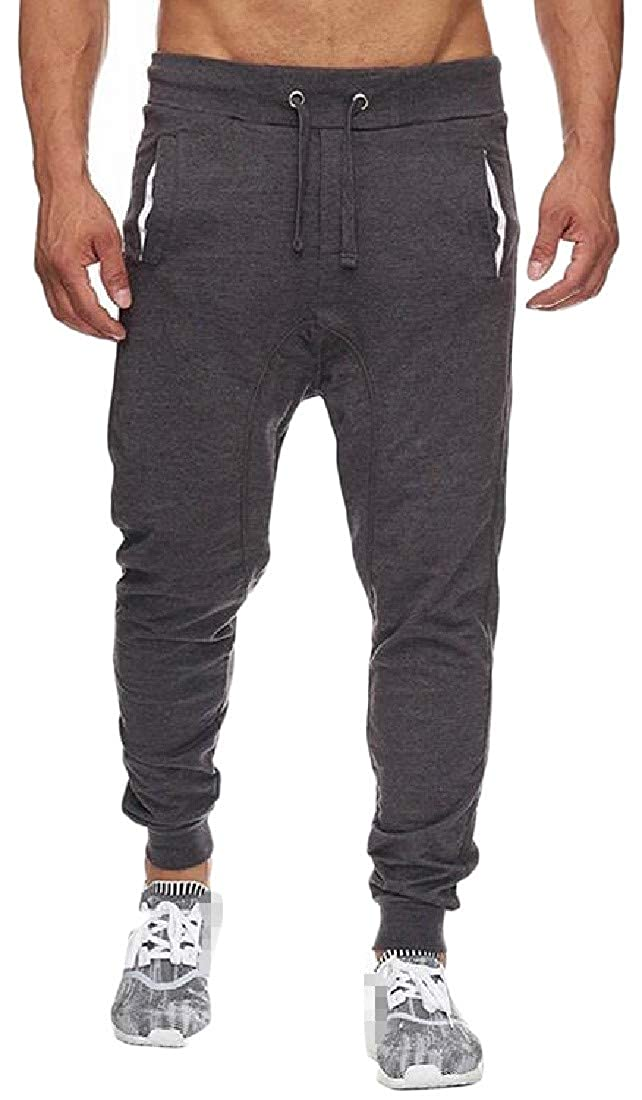 Cromoncent Mens Athletic Jogging Pure Color Elastic Waist Spliced Pull On Pants