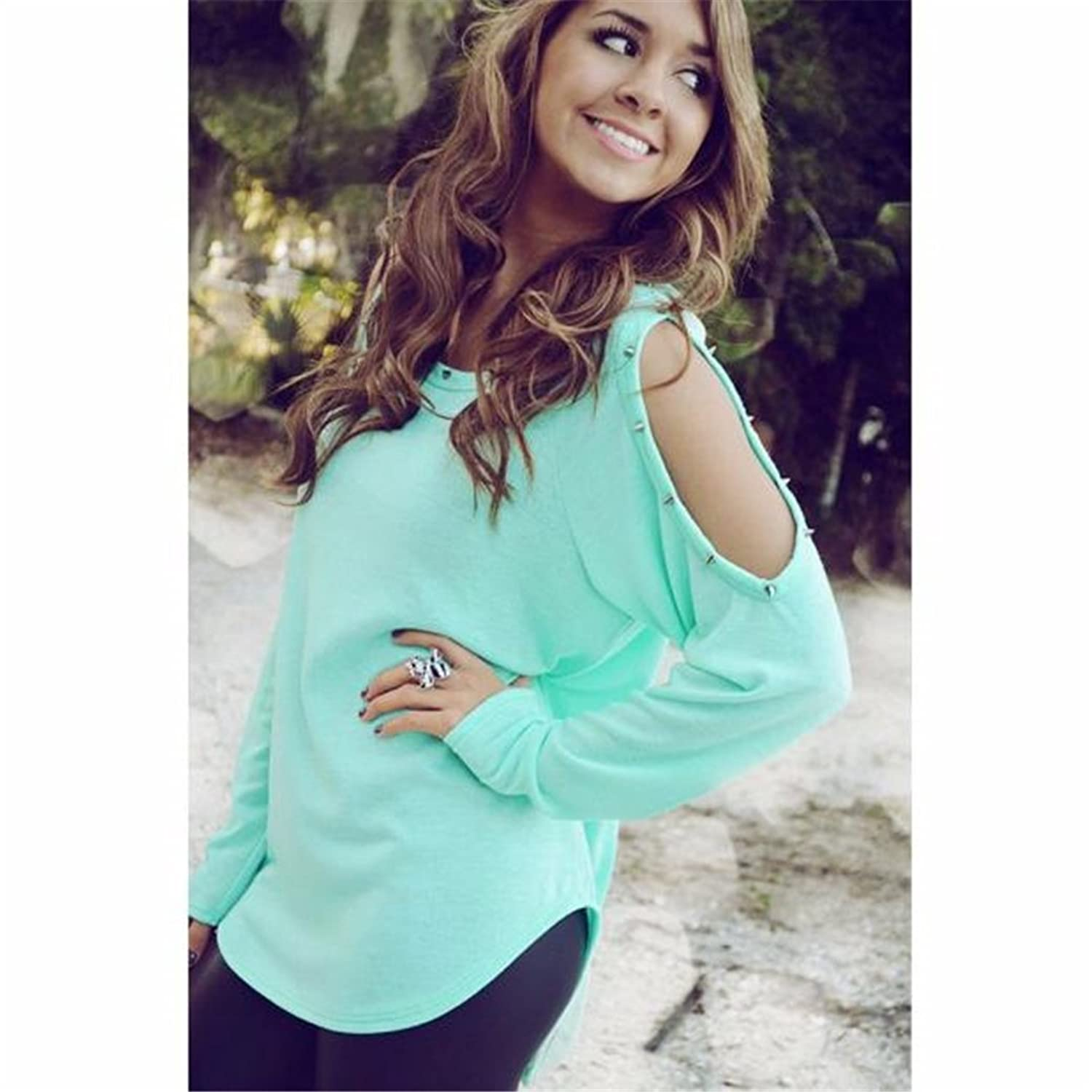 2016 HN Long Sleeve Blouse Off Shoulder Casual Solid Stretch Top Tees Blusas Tops