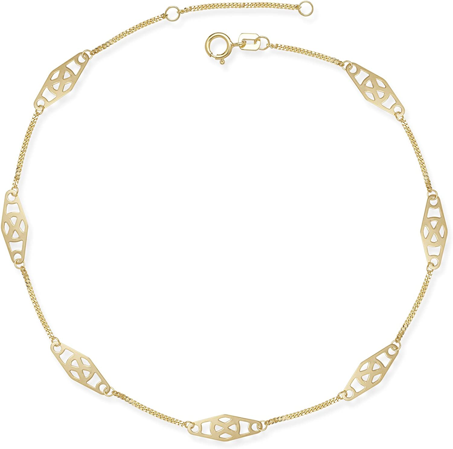 JewelryWeb 14k Gold 9-10-inch Adjustable Twisted Bar Fancy Station Anklet Yellow or White