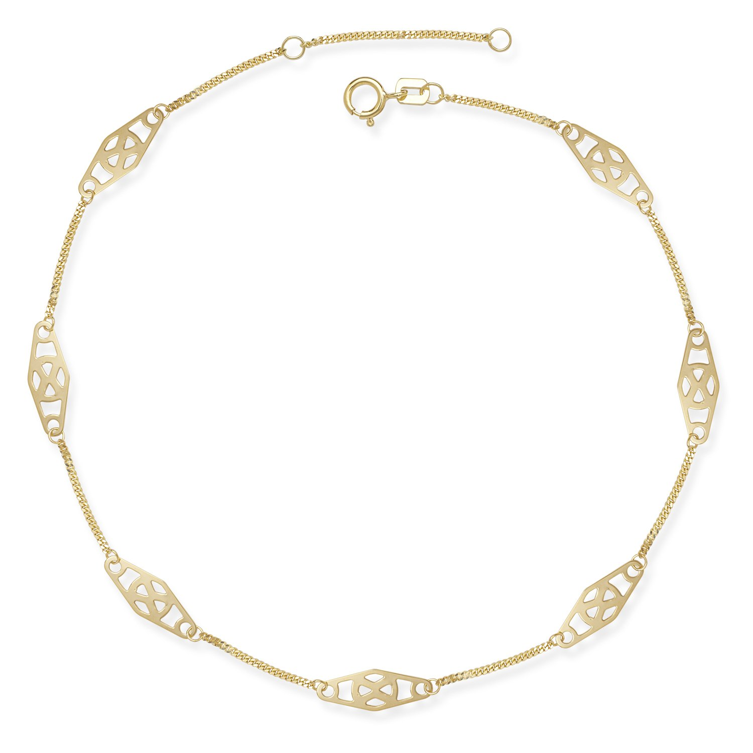 14k Gold 9-10-inch Adjustable Twisted Bar Fancy Station Anklet (yellow or white) (yellow-gold)