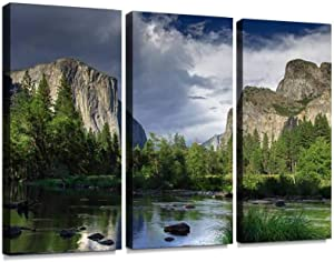 blaverr 3 Panel Wall Art Modern Artworks for Home Decor Canvas Prints Dramatic Sky Over El Capitan Yosemite National Park Pictures for Living Room Bedroom Decoration, Ready to Hang