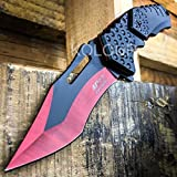 NEW! 8″ M-TECH BLOOD RED Spring Assisted Open FOLDING POCKET KNIFE Tactical Combat Review