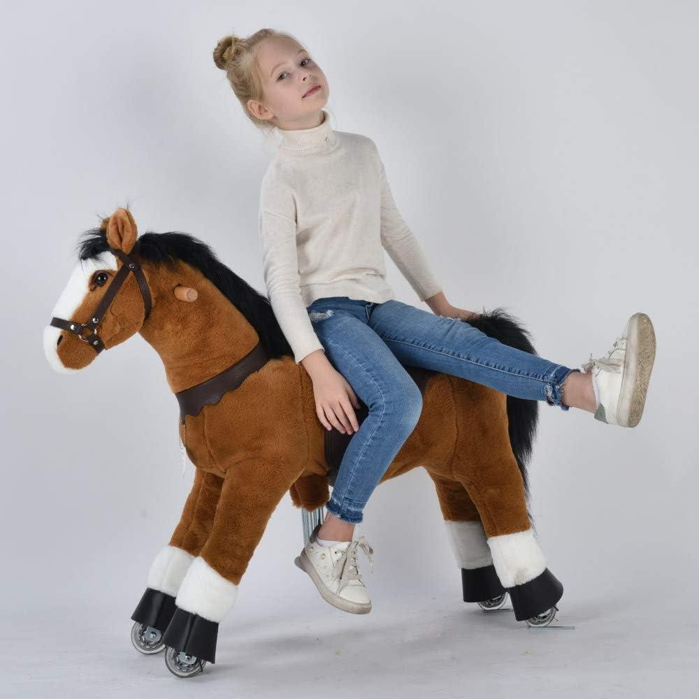 UFREE Caballo mecánico Pony de Juguete para cabalgar, Adecuado para niños de 4 a 9 años, Mediano, Altura de 93 cm (Cuerpo marrón, Melena y Cola Negras)