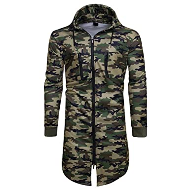 afd4f809b3222 Fashion ER Mens Autumn Winter Hooded Coat Camouflage Sweater Long Slim Fit  Casual Long Sleeve Jacket Green: Amazon.co.uk: Clothing